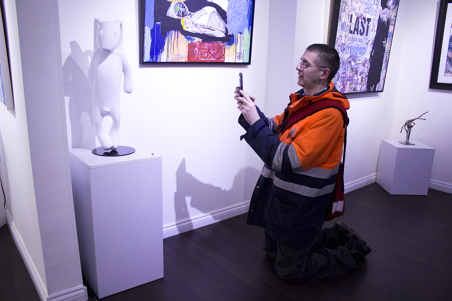 We had Ben on his knees in the gallery after he found out his favourite rabbit has found a new home!