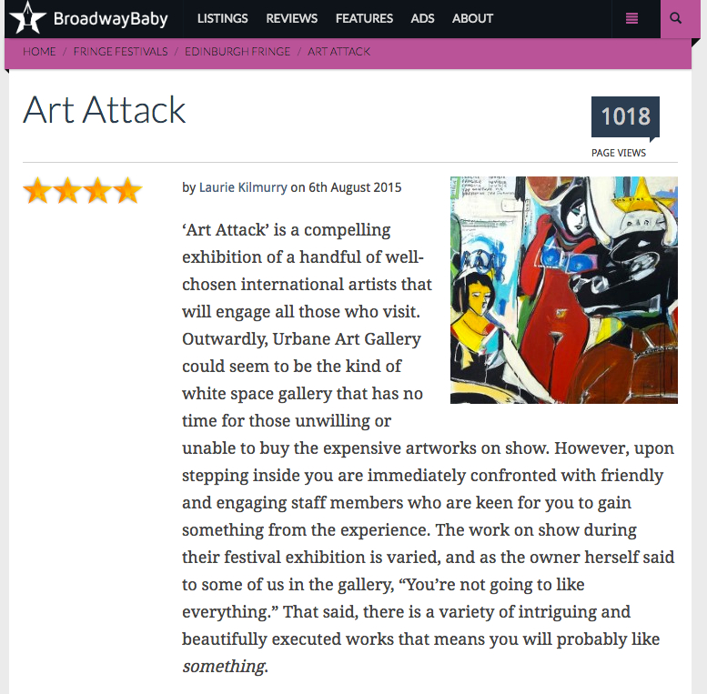 Art Attack Exhibition At BroadwayBaby