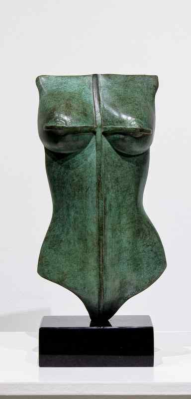 Bronze with verdigris patina on a granite base