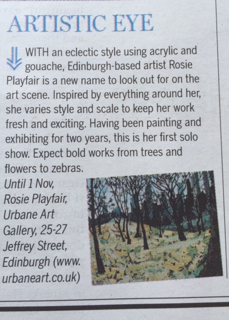 Rosie Playfair's first solo show was reviewed in today's Spectrum. Well done Rosie. Your work looks great in the gallery and is proving popular with our clients.
