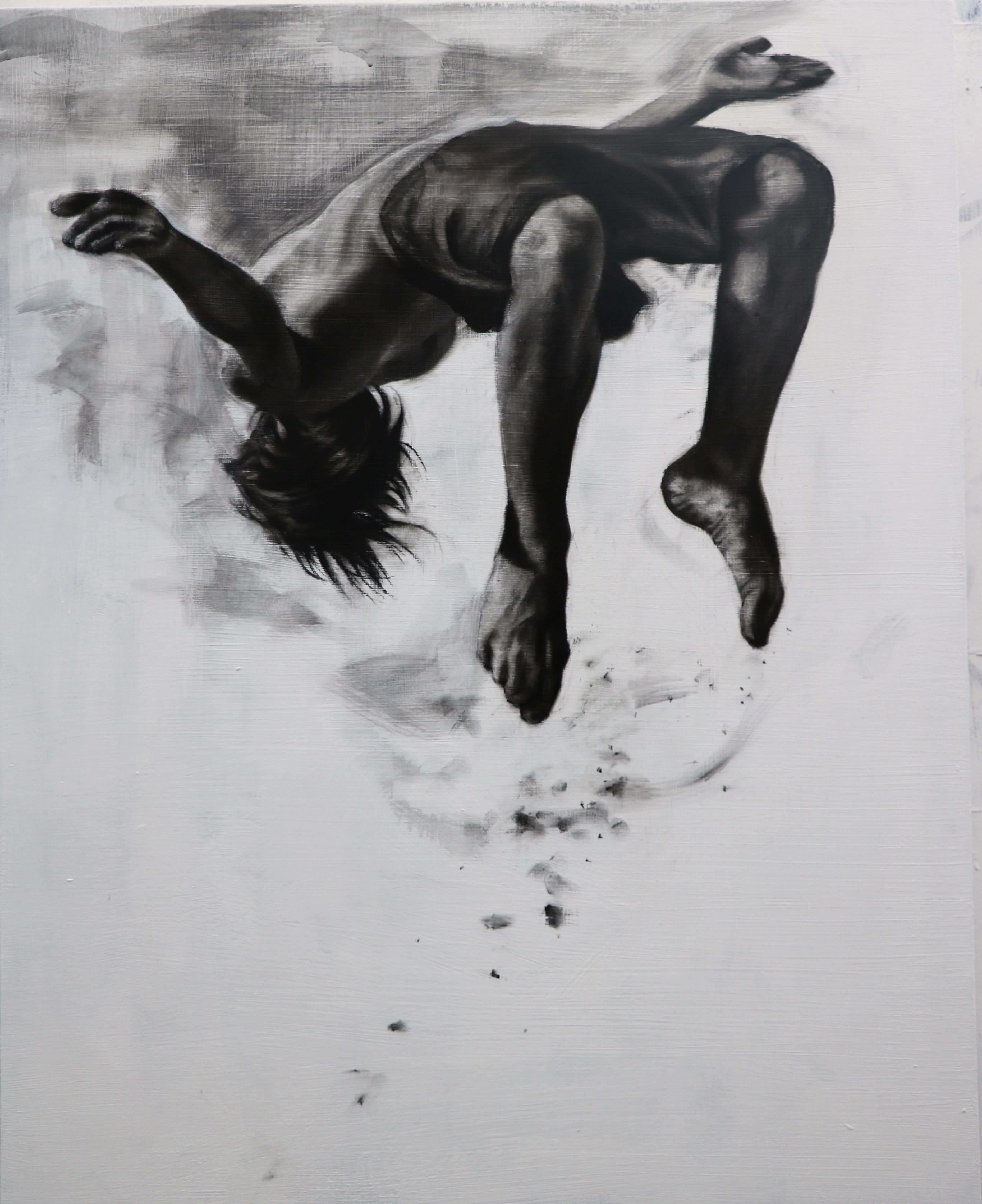 Charcoal and gesso on panel