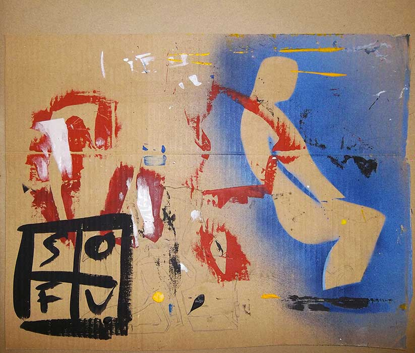 Acrylic, spray paint and stencils on cardboard