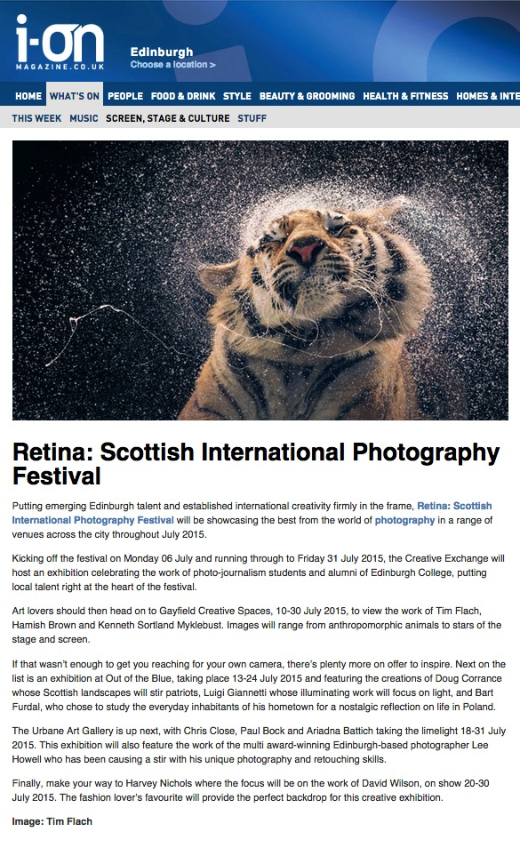 Urbane Art Gallery's upcoming exhibition in partnership with Retina: Scottish International Photography Festival was featured in i-on magazine.