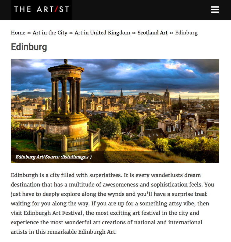 The Artist: Edinburgh Art And Design Highlights