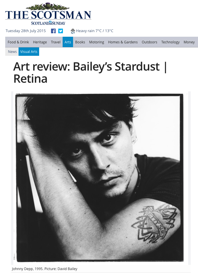 Retina: Scottish International Photography Festival reviewed alongside Bailey's Stardust by Duncan MacMillan in the Scotsman.